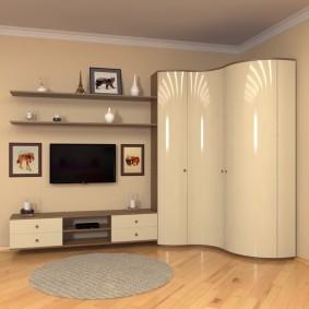 Глянцевый шкаф с радиусными фасадами