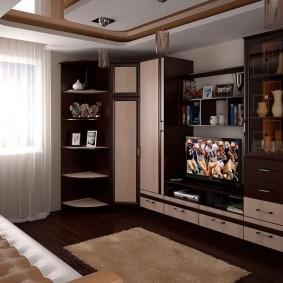 Двухуровневый потолок в небольшой комнате