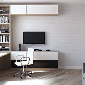 Модульная стенка в комплекте с компьютерным столом