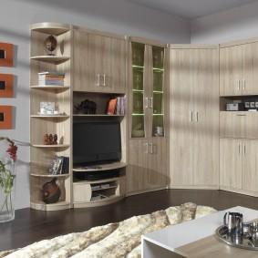 Меблировка гостиной комнаты в трехкомнатной квартире