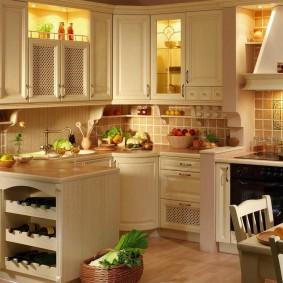 Подсветка шкафчиков в уютной кухне