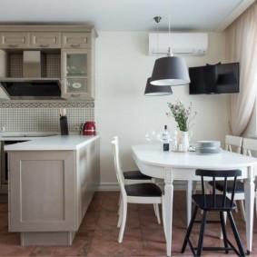 Зонирование кухни-столовой полуостровом