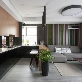 Живые растения в вазоне на полу кухни-гостиной