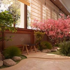 Сакура в интерьер зимнего сада в доме
