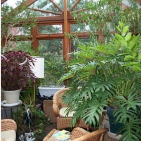 Плетенная спинка садового кресла