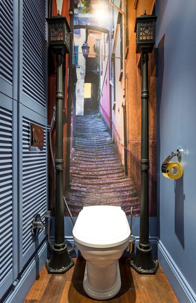 Фотообои с перспективой в интерьере туалета