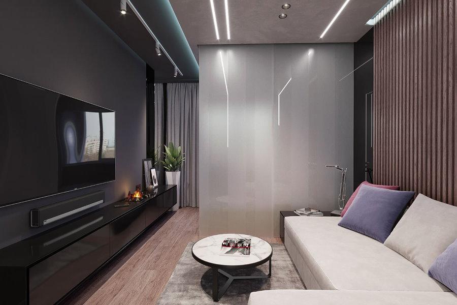 Линейные светильники на потолке зала площадью 12 кв метров