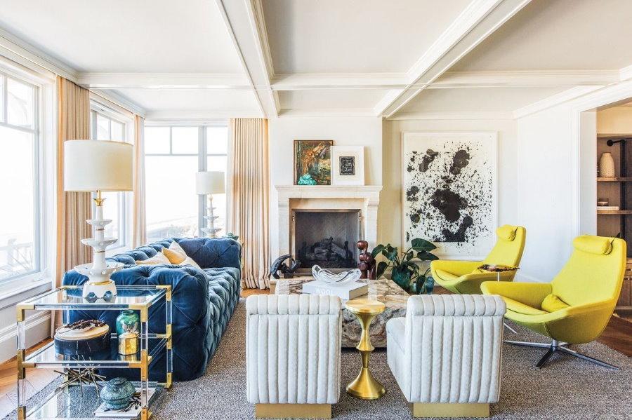 Эклектический дизайн гостиной комнаты