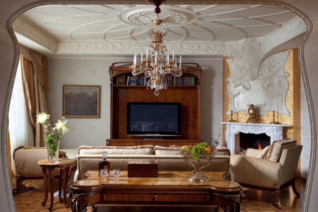 Красивая гостиная в стиле модерн  с камином