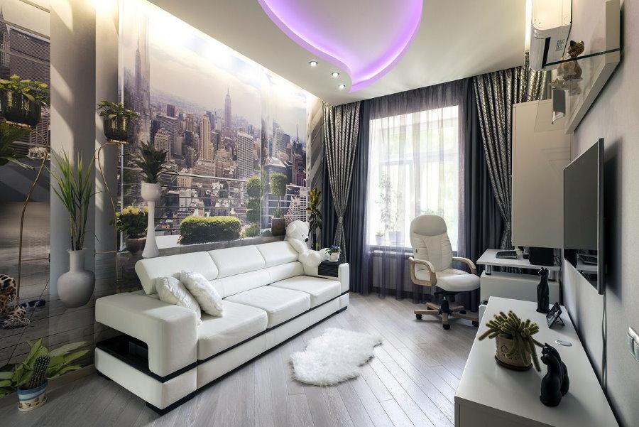 Декор фотообоями гостиной в 2-х комнатной хрущевке