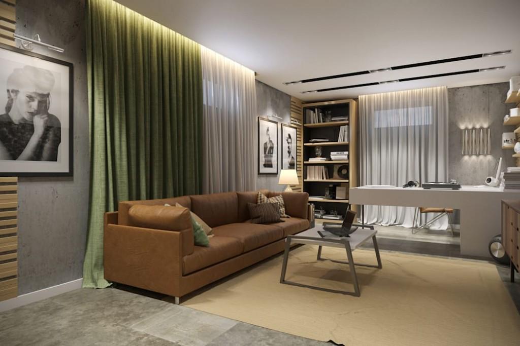 Домашний кабинет в гостиной комнате