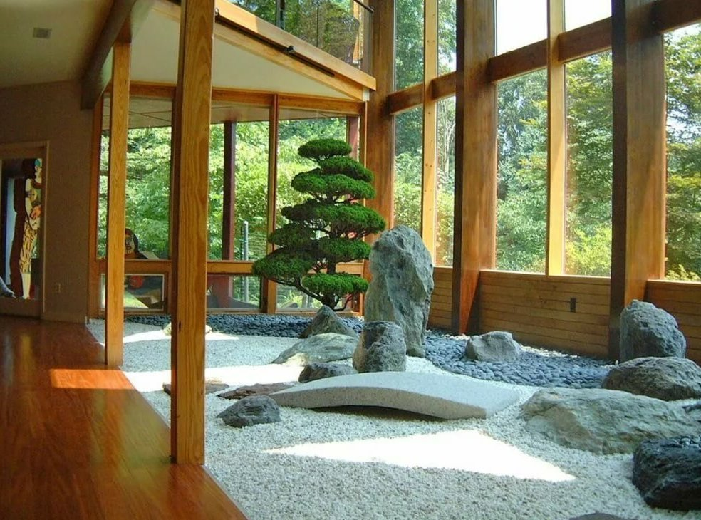 Зимний сад камней в загородном доме