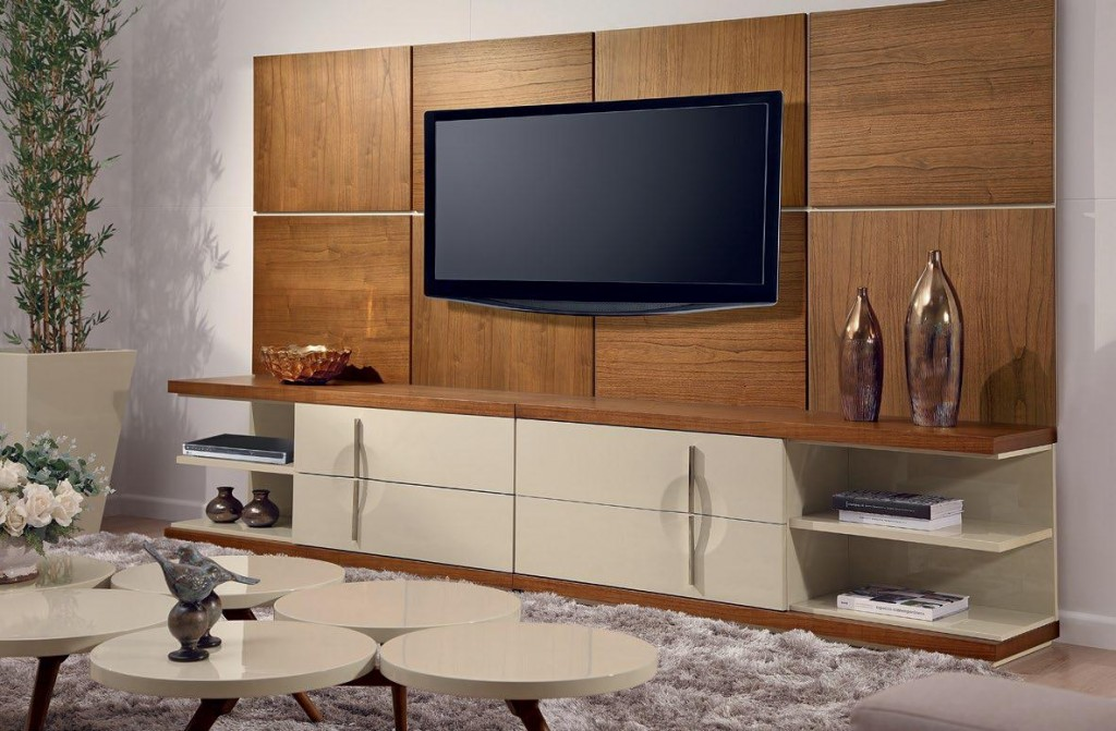 Прямая стенка для телевизора в современную гостиную