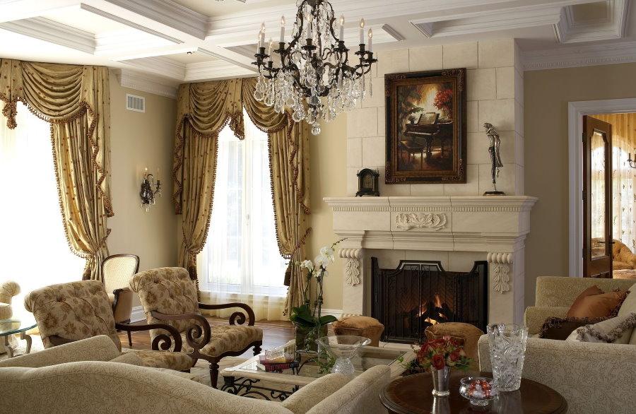 Интерьер гостиной комнаты в стиле классика с камином