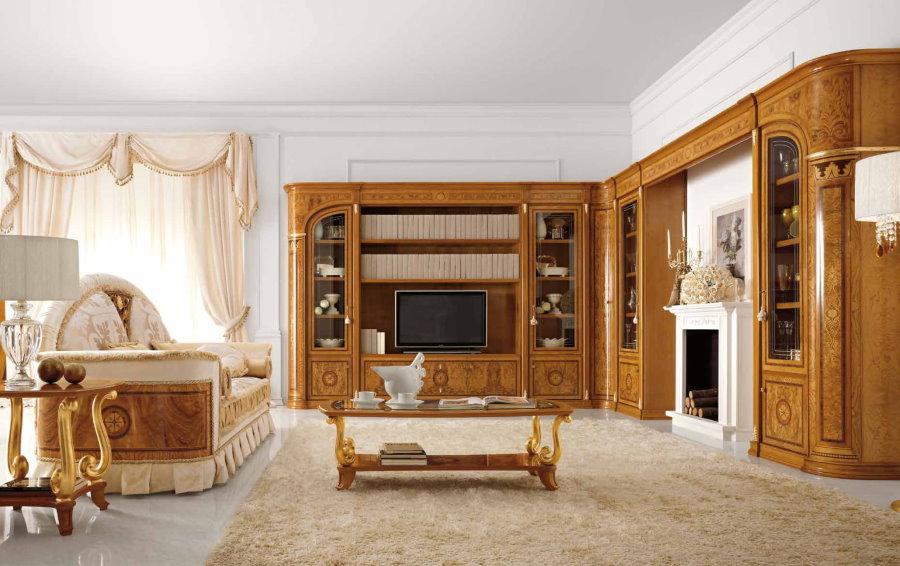 Угловая стенка в просторной гостиной классического стиля