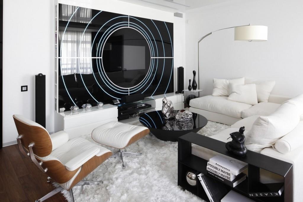 Современная гостиная в стиле хай-тек с белой мебелью