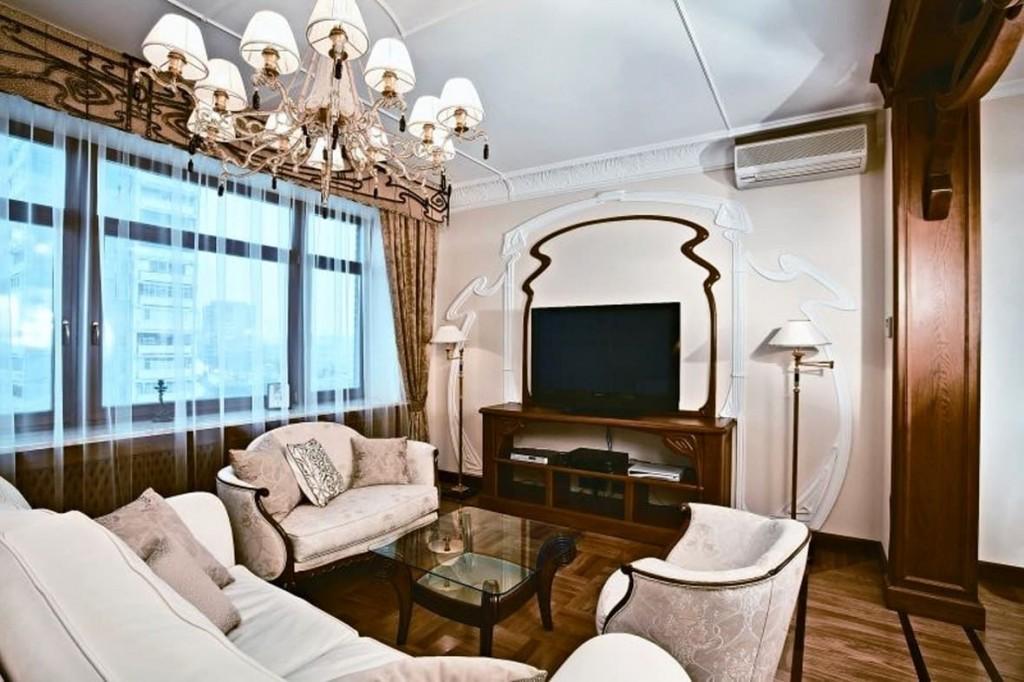 Меблировка гостиной комнаты в стиле модерн