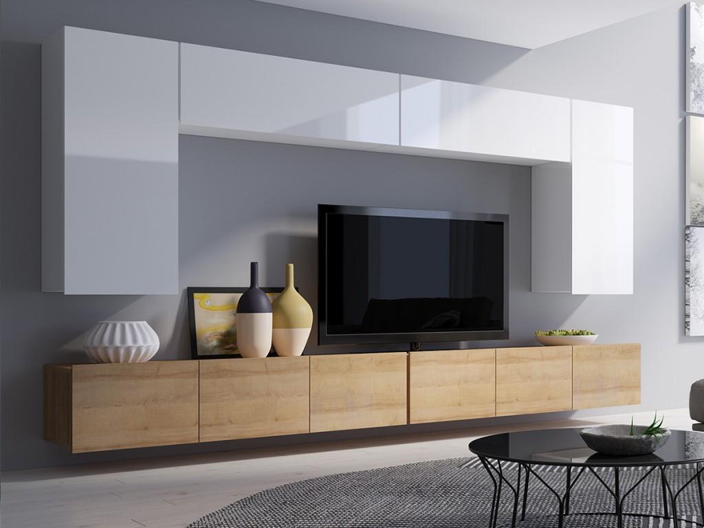 Телевизор на подвесной тумбе в гостиной современного стиля