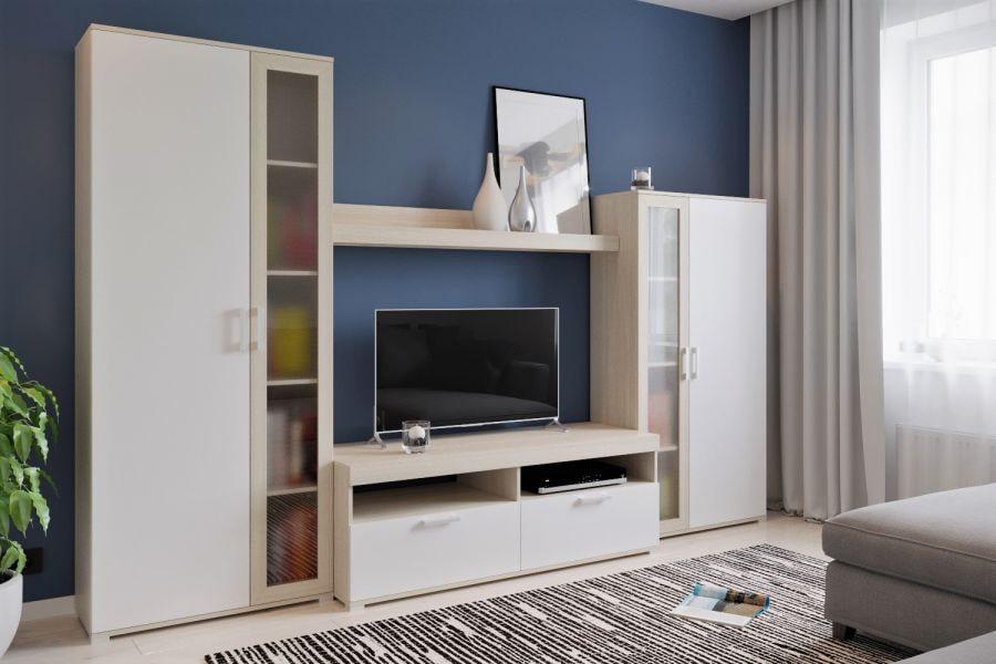 Современная модель стенки в гостиной комнате