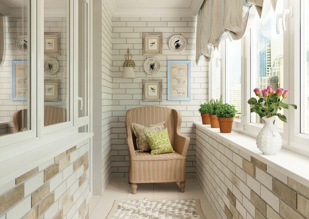 Интерьер балкона с теплым кабельным полом