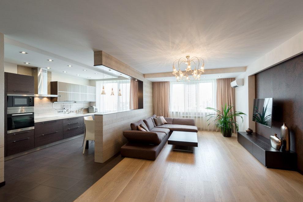 Кухня-гостиная в современном стиле интерьера