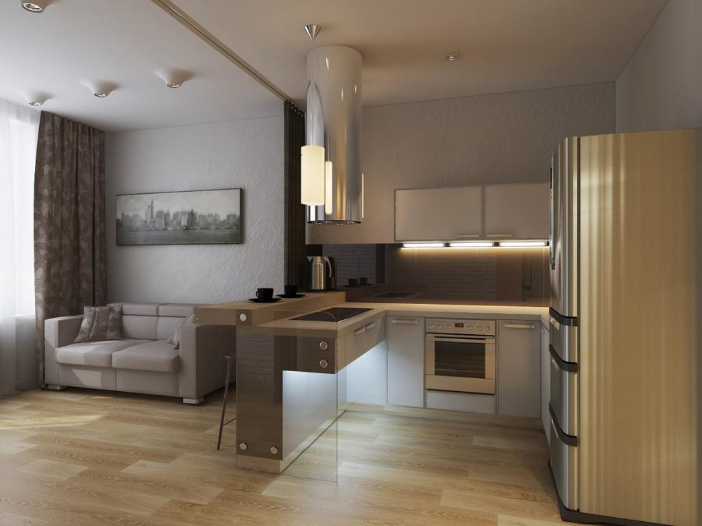 Зонирование барной стойкой кухни-гостиной в квартире