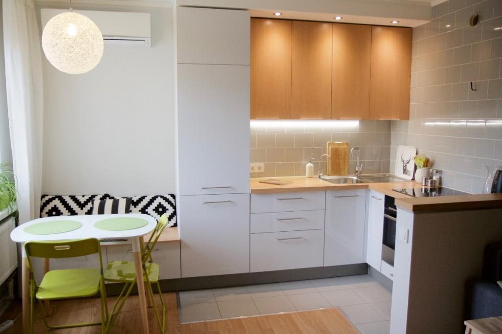 Освещение кухонной зоны в евроквартире