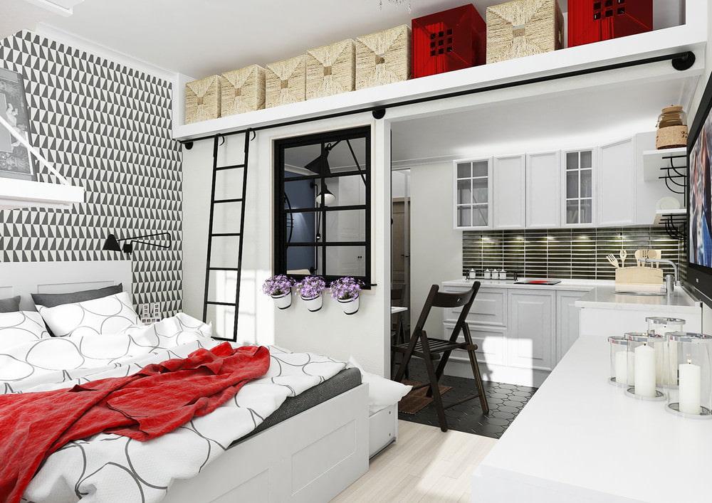 Антресоль под потолком однокомнатной квартиры