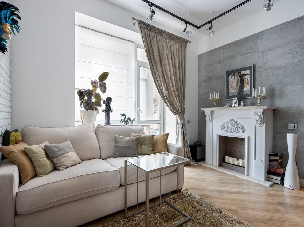 Дизайн гостиной в стиле лофта с элементами классики