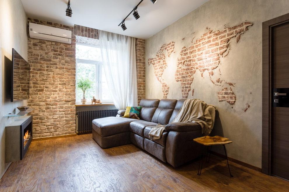 Декор кирпичной кладкой стен в квартире панельного дома
