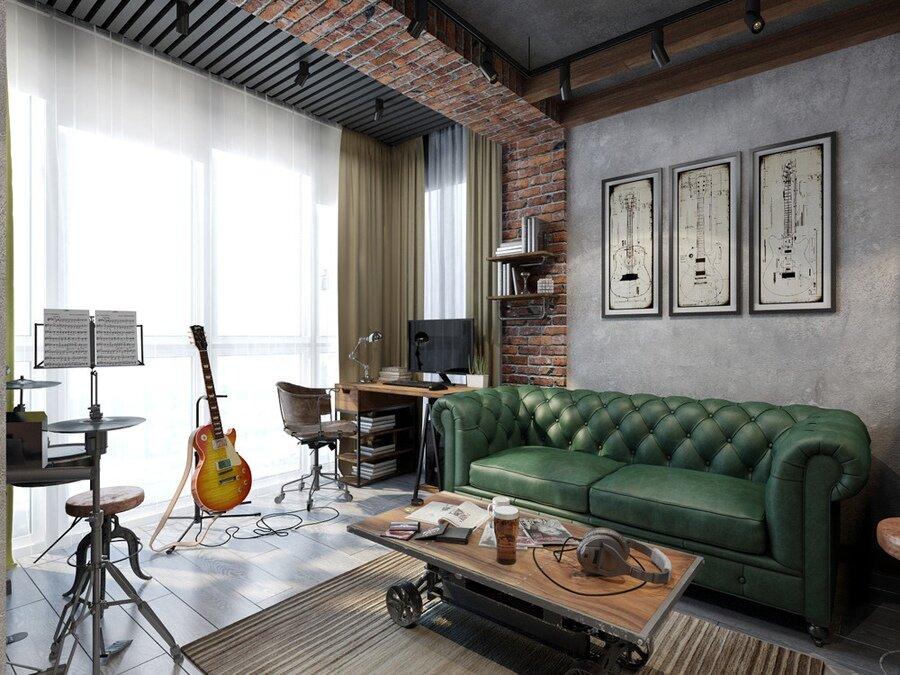 Темно-зеленый диван в квартире индустриального стиля