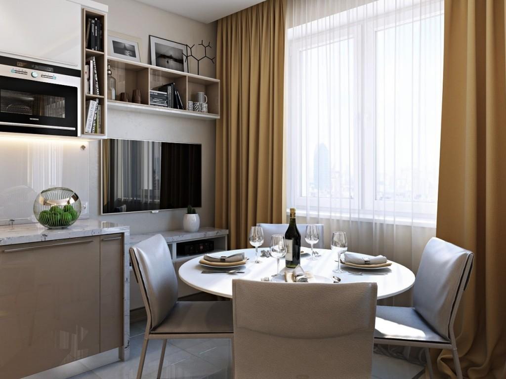 Круглый стол на кухне с телевизором