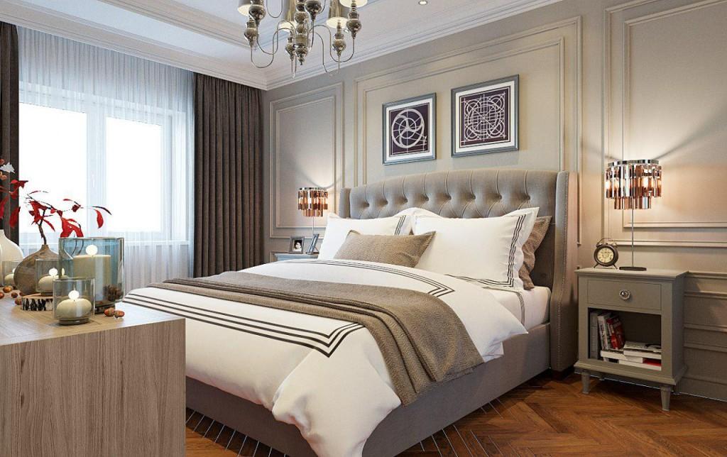 Меблировка спальной комнаты в стиле современной классики
