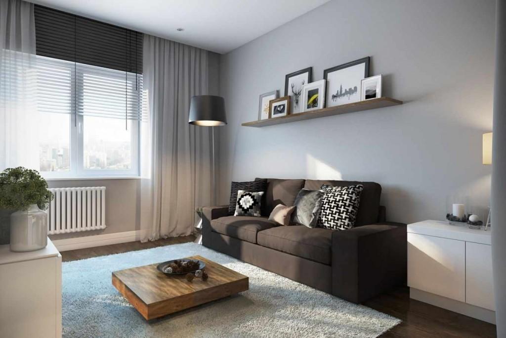 Полочка с декорациями в гостиной стиля минимализма