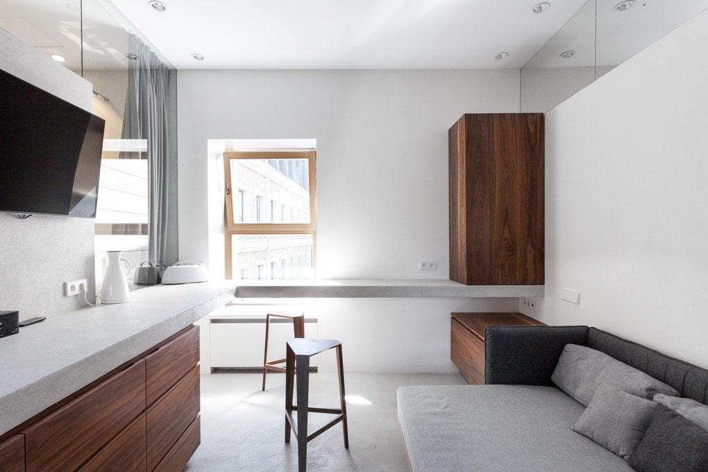 Минимум мебели в квартире студийной планировки