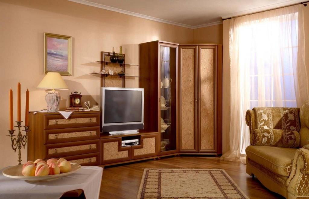 Модульная угловая стенка в интерьере гостиной