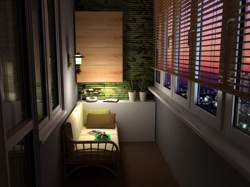 Настенный светильник над диванчиком на лоджии