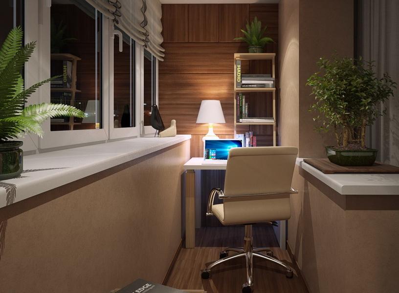 Интерьер рабочего кабинета на теплом балконе
