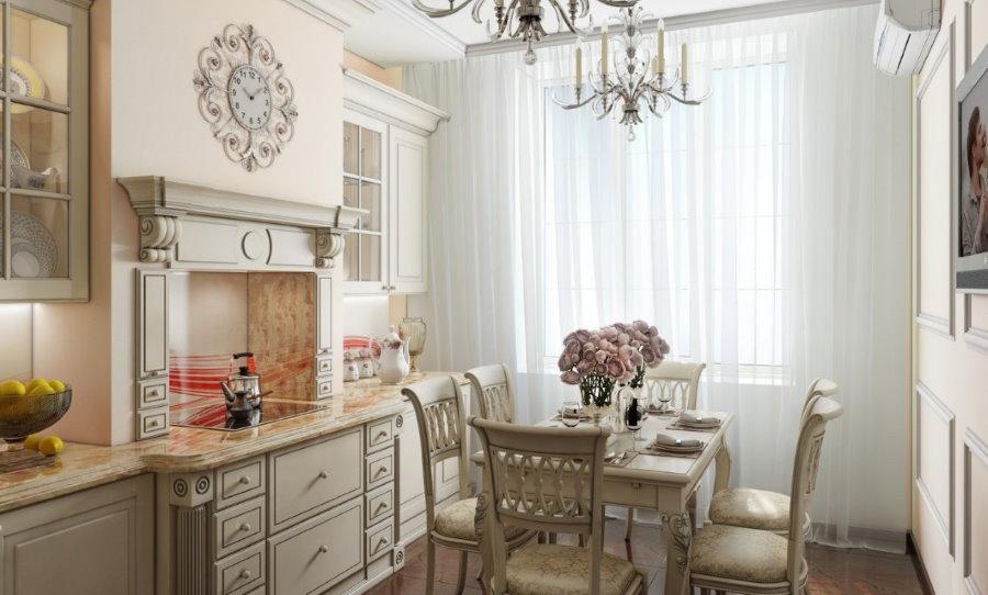 Каминная вытяжка в кухне современной квартиры