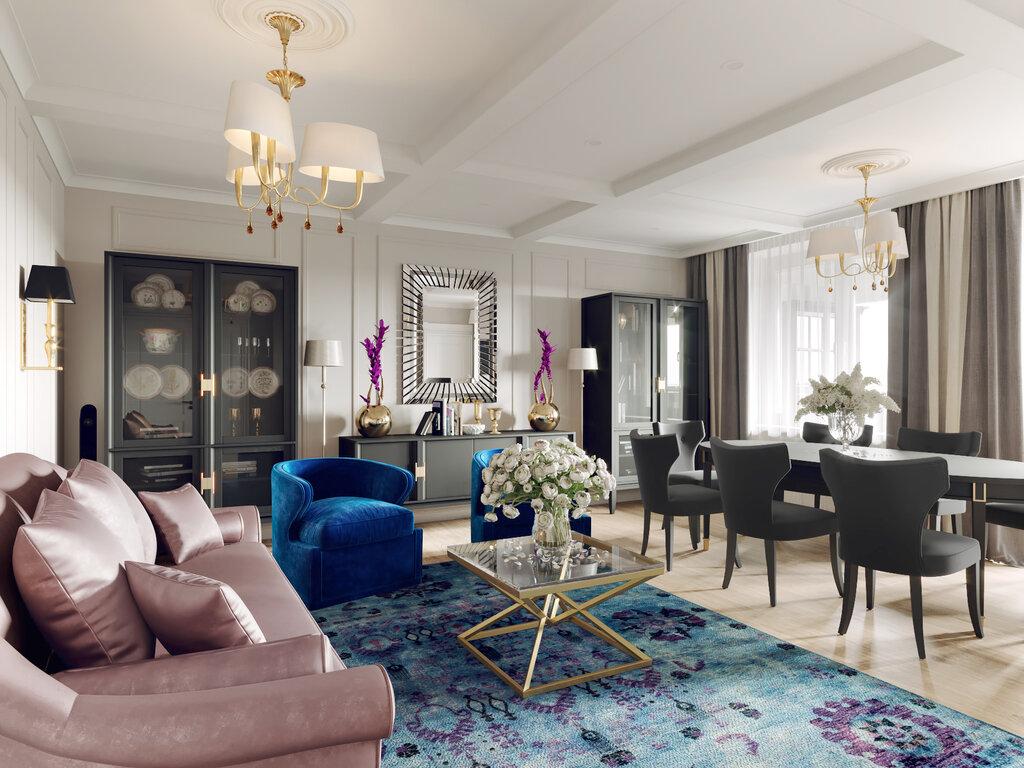 Синее кресло в зоне отдыха квартиры-студии