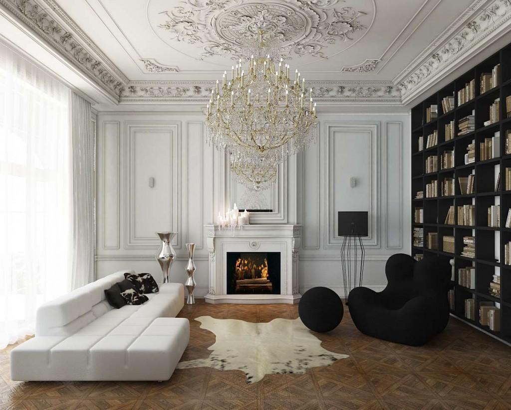 Камин в интерьере гостиной современной квартиры