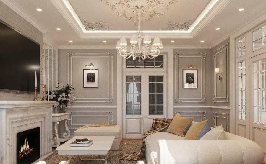 Освещение гостиной с камином в стиле неоклассицизма