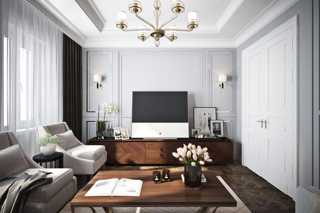 Интерьер гостиной комнаты в неоклассическом стиле