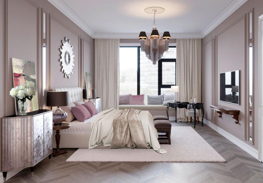 Паркетный пол в спальне неоклассического стиля