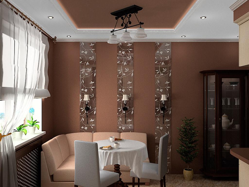 Обеденный стол на кухне с коричневыми стенами