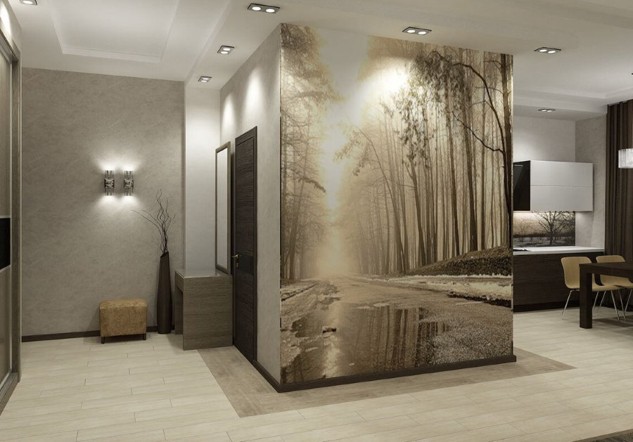 Фотообои с панорамой на стене в однокомнатной квартире