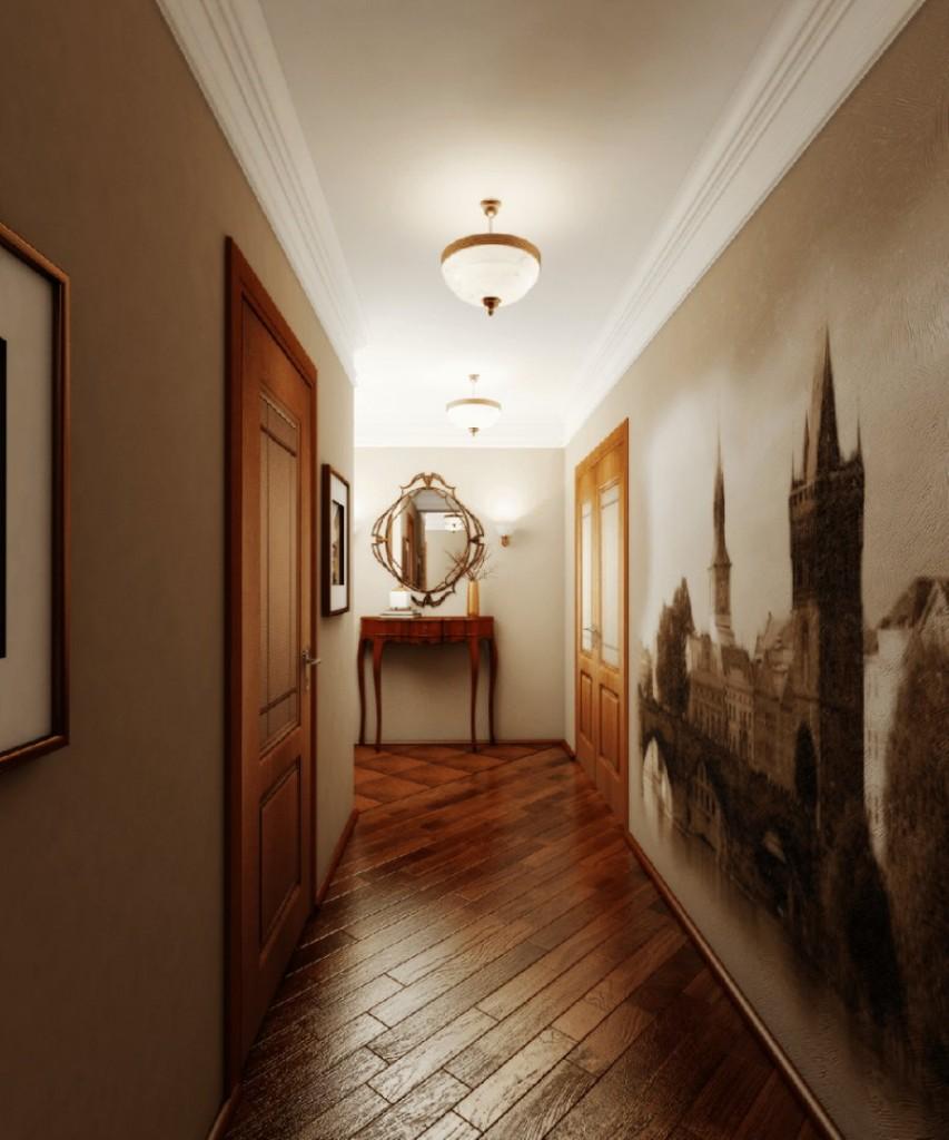 Паркетный пол в коридоре с фотообоями