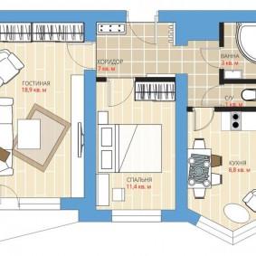 Планировка двухкомнатной квартиры в новостройке