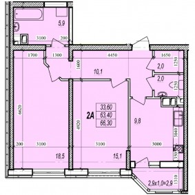 План двухкомнатной квартиры в новом доме