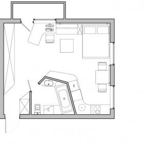 План квартиры студии европейского типа